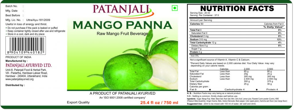 Patanjali Mango Panna-750ml final
